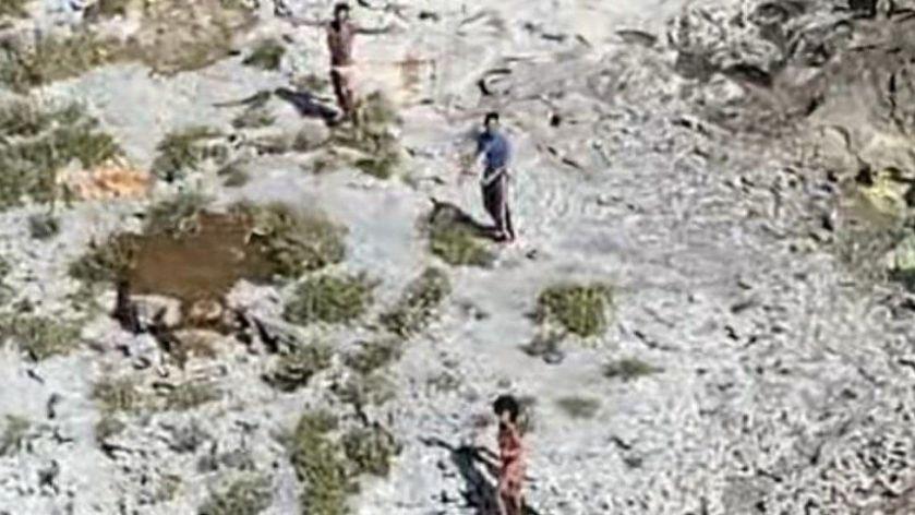 Three people stranded on Anguilla Cay, Bahamas, 8 February 2021.