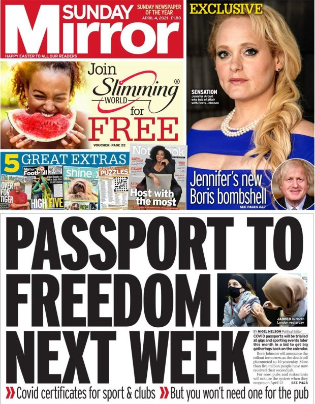Sunday Mirror front page 4 April 2021