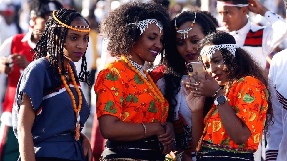 Women dressed up for the Oromo festival Irreecha in Ethiopia - 2019