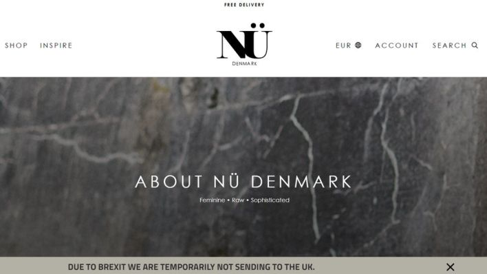 Nu Denmark home page, showing a notice