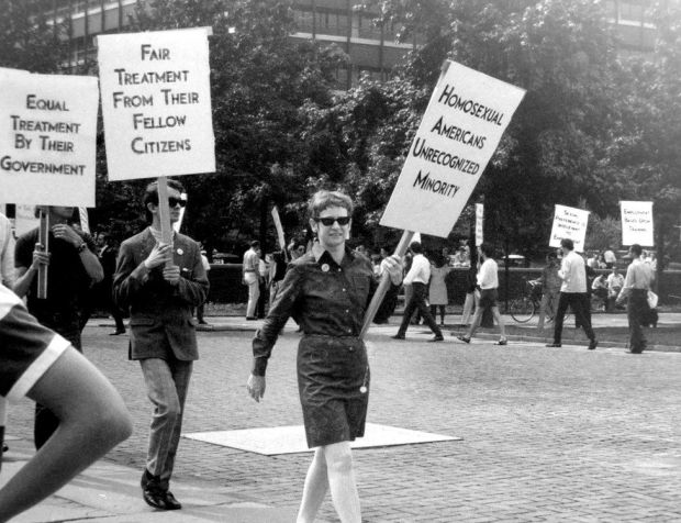Kay Lahusen protesting at Independence Hall in 1969