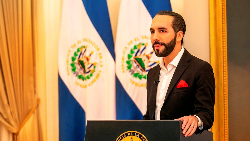 "El Salvador""s President Nayib Bukele addresses the nation during a live broadcast"