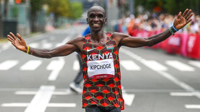 Kenya's Eliud Kipchoge crossing the finish line at the men's Olympic marathon in Sapporo, Japan - Sunday 8 August 2021