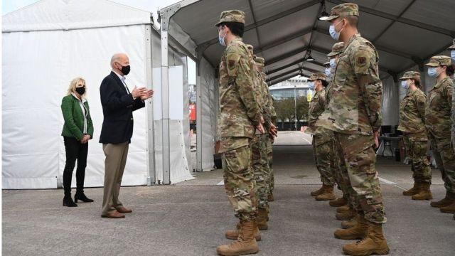 Mr Biden addressed troops at the NRG Stadium in Houston