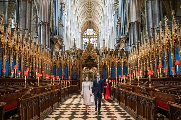 The Duke and Duchess of Cambridge walk through Westminster Abbey