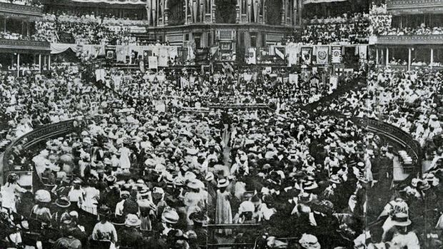 National Union of Women's Suffrage Societies (suffragists) meeting in the Royal Albert Hall 13 June 1908