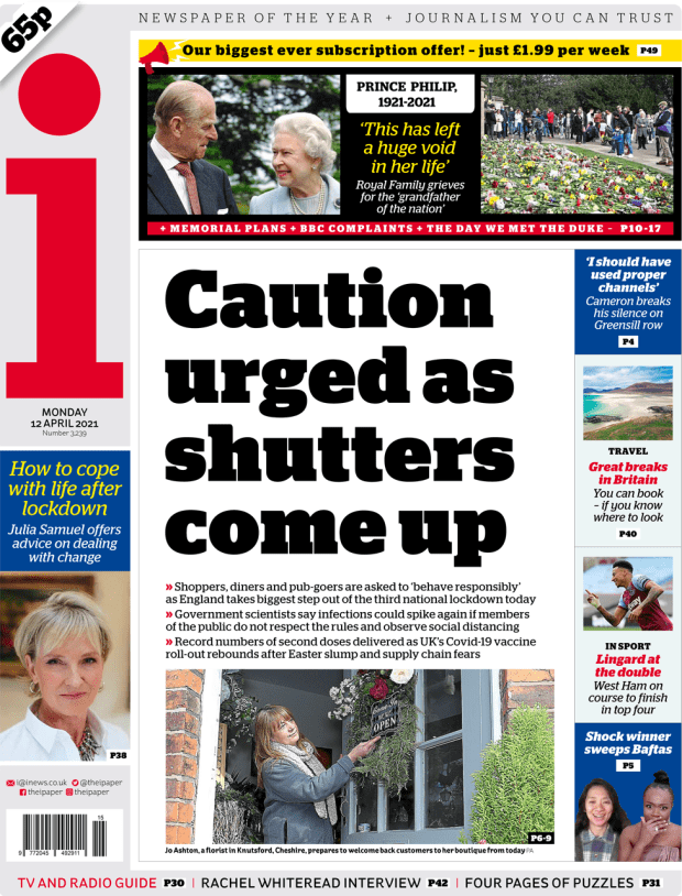 The i front page 12 April 2021
