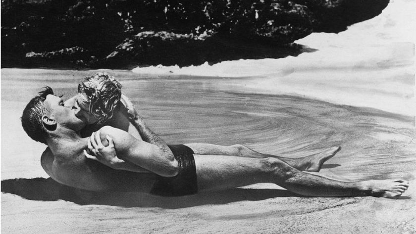 A scene in From Here to Eternity, in which she famously romped in the sea with Burt Lancaster.