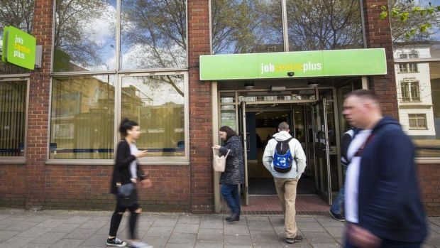 Picture of people entering a job centre