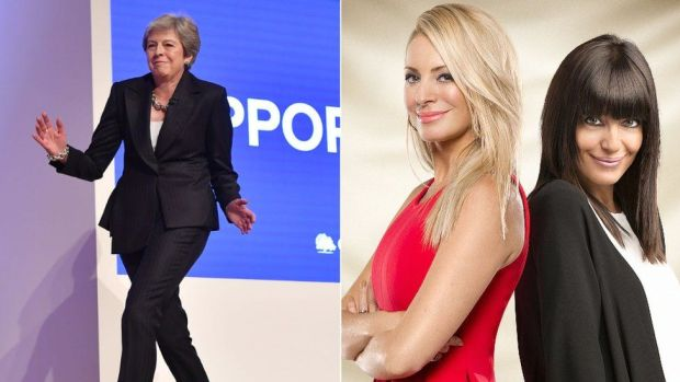 Theresa May and Tess Daly and Claudio Winkleman