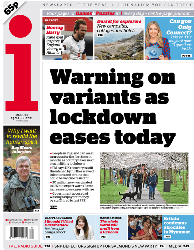 The i front page 29 March 2021