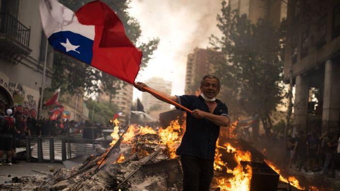 Protestas en Santiago.