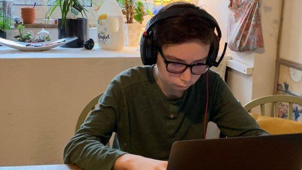 Joshua doing his schoolwork