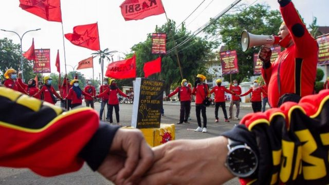Members of Indonesian labour organizations join a May Day rally in Karawang