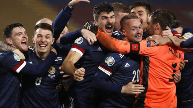 The Scottish football team celebrating