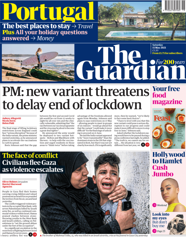 The Guardian front page 15 May 2021