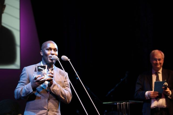 Tony accepting an award for Best Instrumentalist at the BBC Jazz Awards in 2008