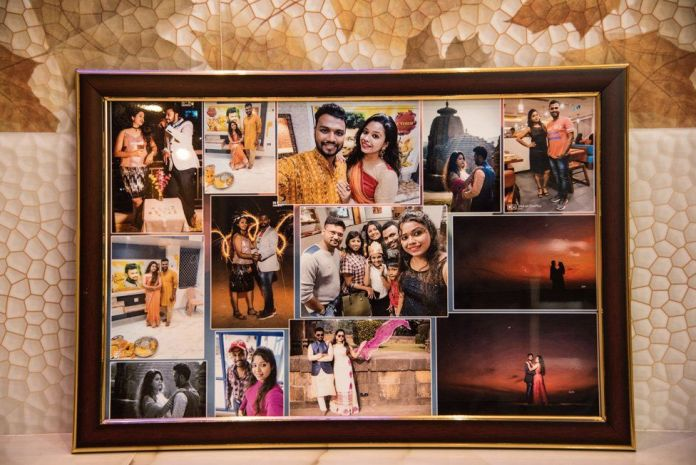 Photoframe with pictures of Sudeep and Bhagyashree