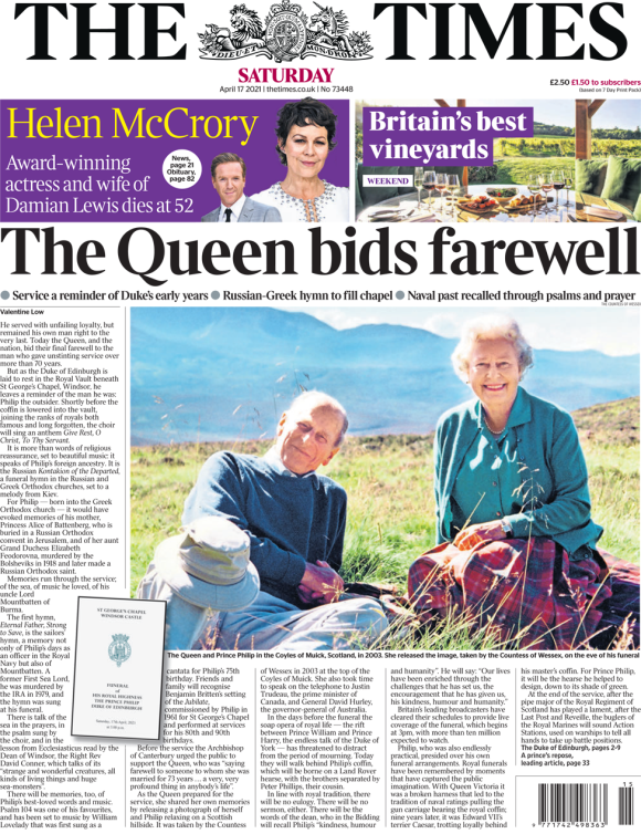 The Times front page 17 April 2021