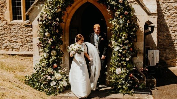 Patrick with wife Charlotte on wedding day