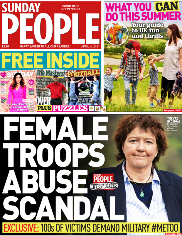 Sunday People front page 4 April 2021