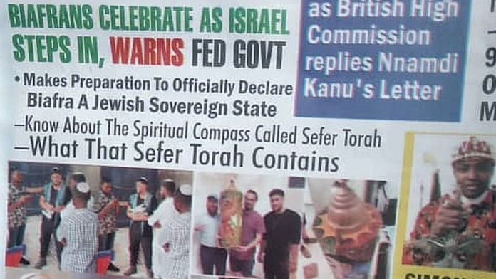 Voice of Biafra newspaper showing pictures of the Israelis in Nigeria