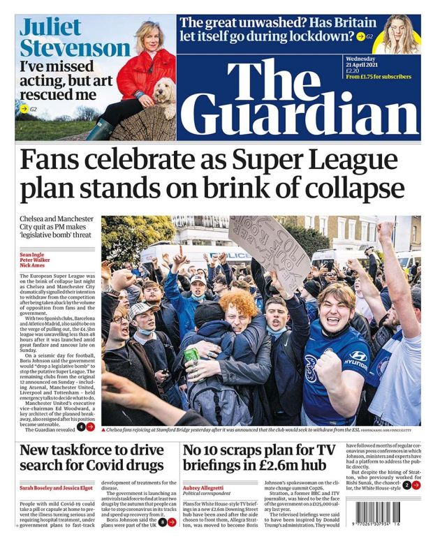 The Guardian front page 21.04.21