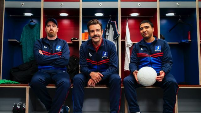 Ted Lasso stars Brendan Hunt, Jason Sudeikis and Nick Mohammed