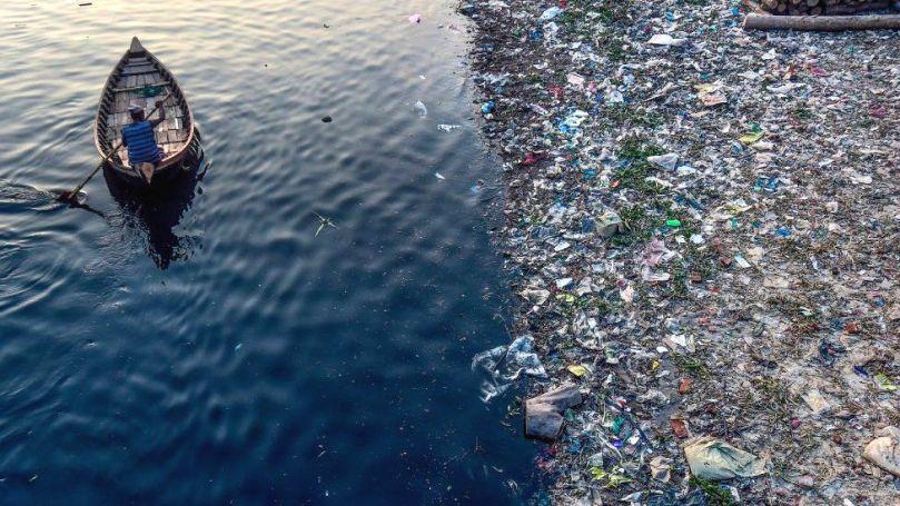 Plastic in a river in Dhaka, Bangladesh