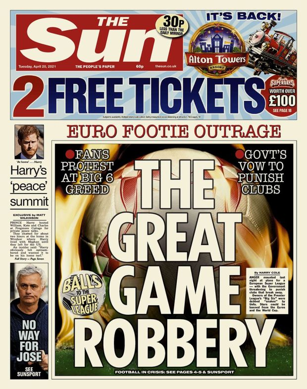 The Sun front page 20.04.21