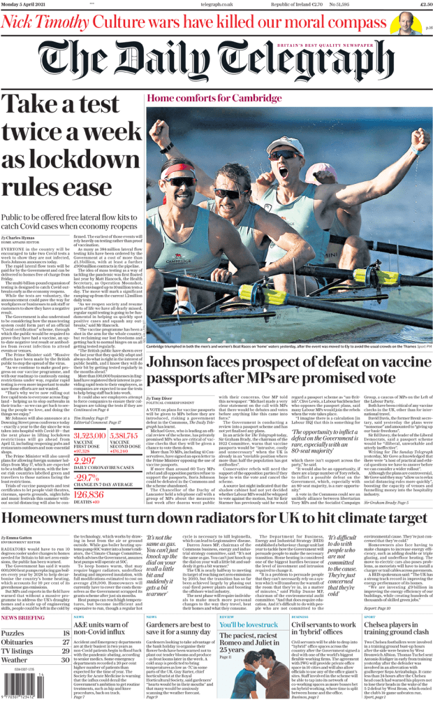 The Daily Telegraph front page 5 April 2021