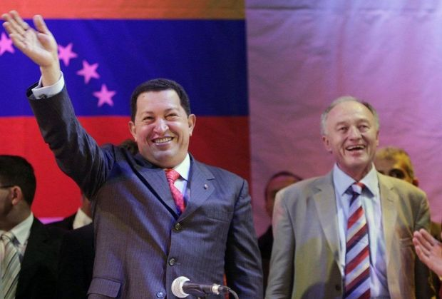 President of Venezuela Hugo Chavez addresses crowds of supporters at the Camden Centre, London after being welcomed to London by mayor Ken Livingstone