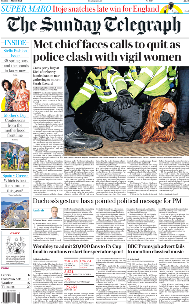 The Sunday Telegraph front page 14 March 2021