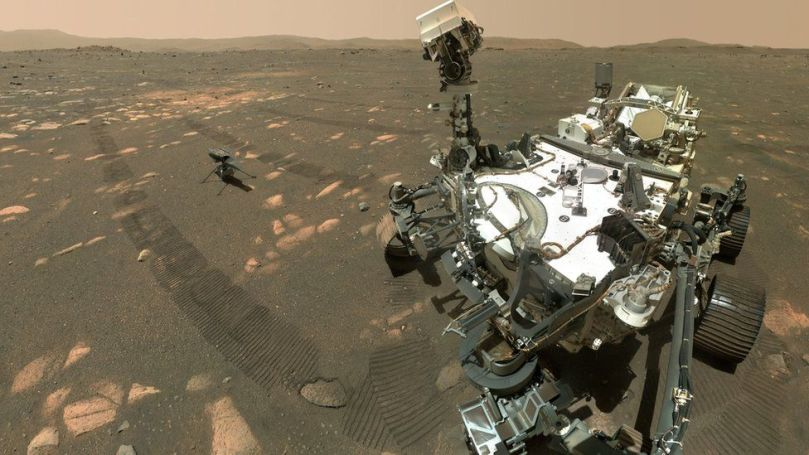 Selfie of helicopter and rover