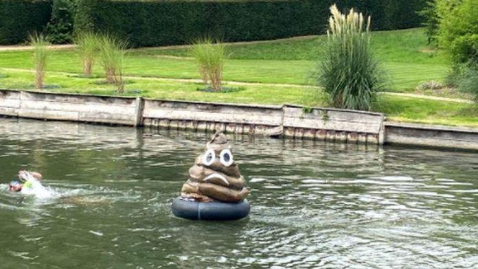 Poo model floating in river