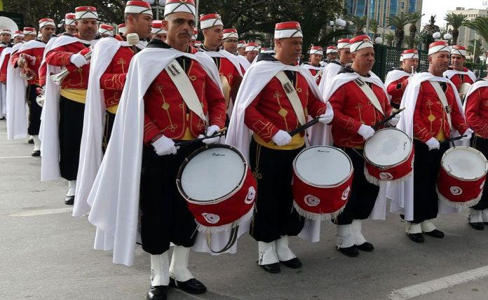 Tunisian Republican Guard members with drums and other instruments in a square in Tunis, Tunisia - Monday 6 February 2017