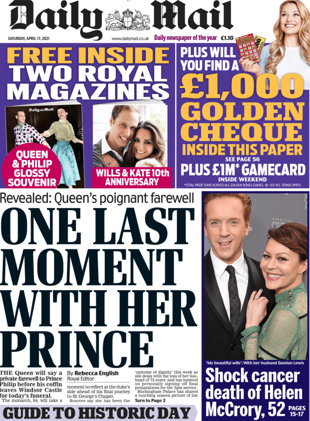 The Daily Mail front page 17 April 2021