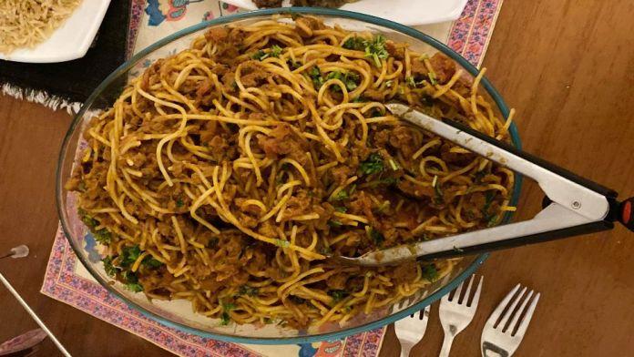 A dish of Somali bolognese