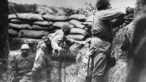 Ottoman soldiers in their trench