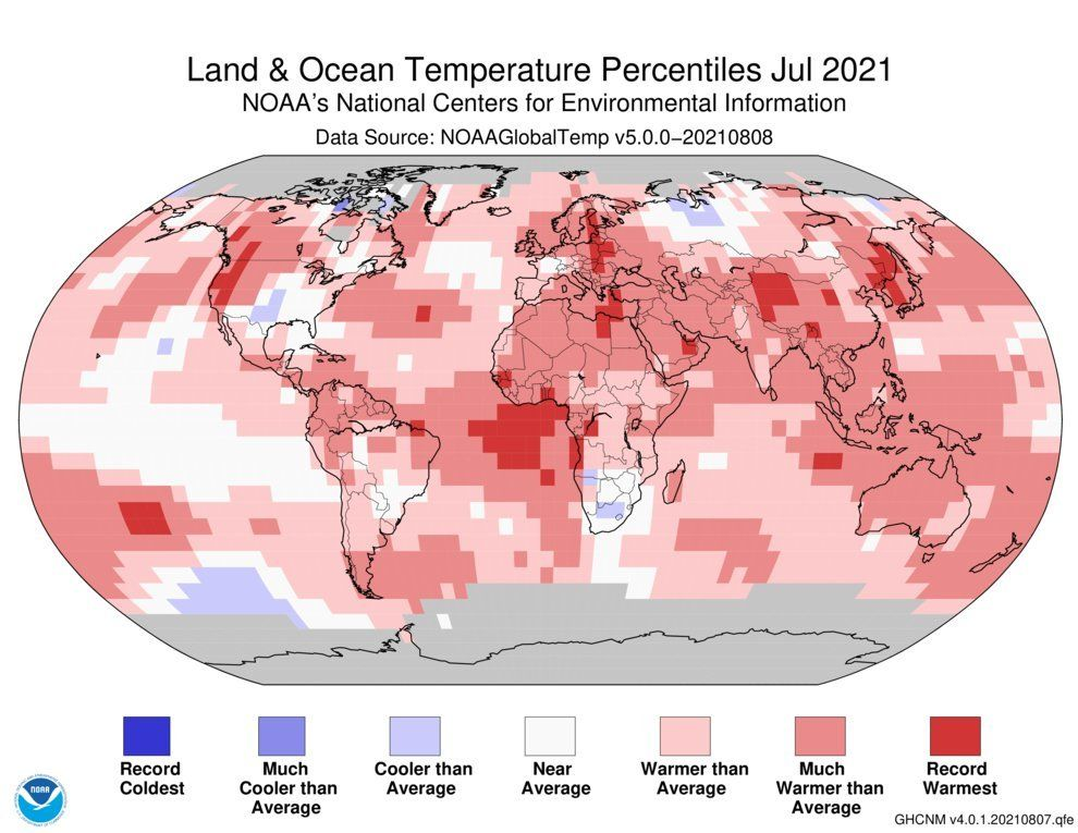 Map showing temperature percentiles for July 2021