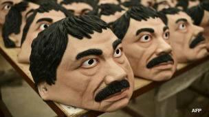 Máscaras de Joaquín Guzmán Loera, El Chapo. Foto: AFP/Getty