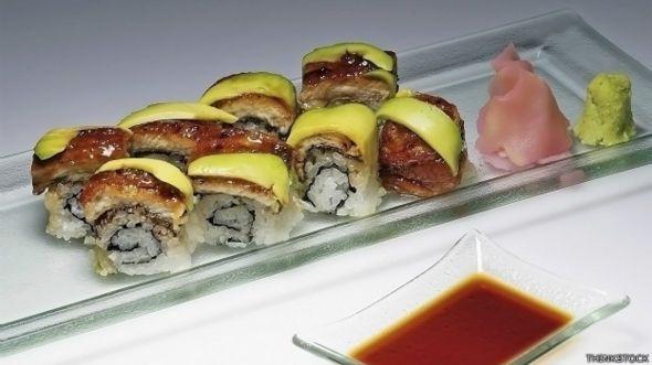Jengibre encurtido con sushi