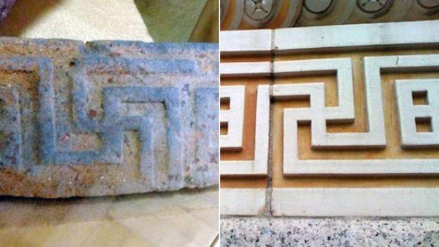 """""""Меандровый"""" орнамент на древне-греческой вазе и на Академии музыки в Бруклине, Нью-Йорк"""