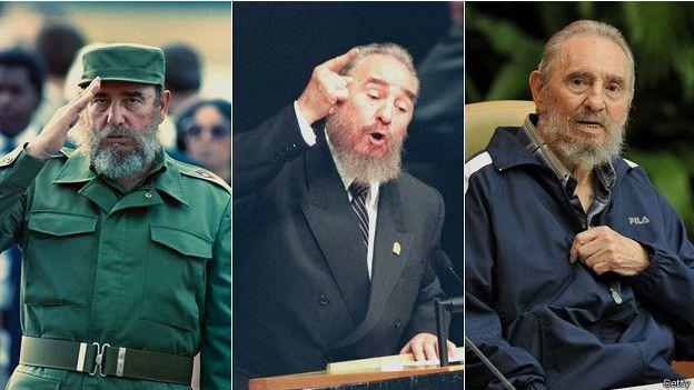 Fidel Castro en 1995, 2000 y 2011