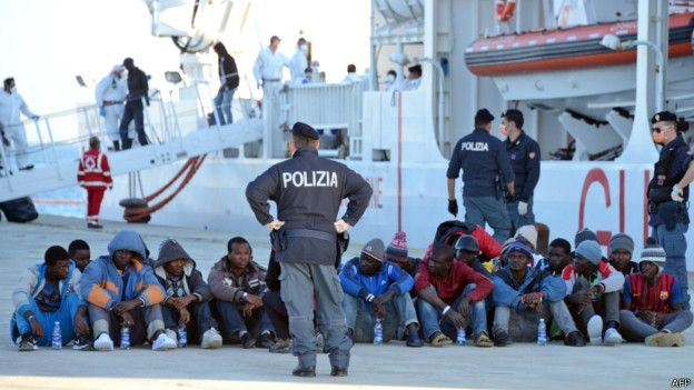 Мигранты под присмотром полиции