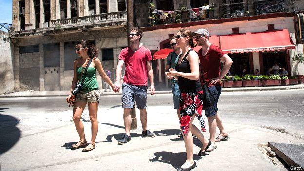 Grupo de jóvenes turistas