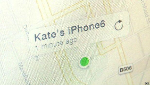"""mapa de """"encuentra mi iPhone"""" de Apple"""