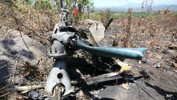 Restos de un helicóptero militar derribado en Jalisco