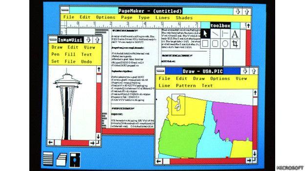 Imagen de la navegación con el Windows 2 de Microsoft, lanzado en 1987
