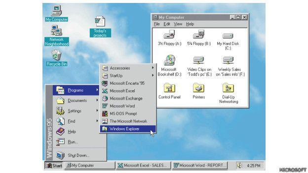 Imagen de la navegación con el Windows 95 de Microsoft, lanzado en 1995